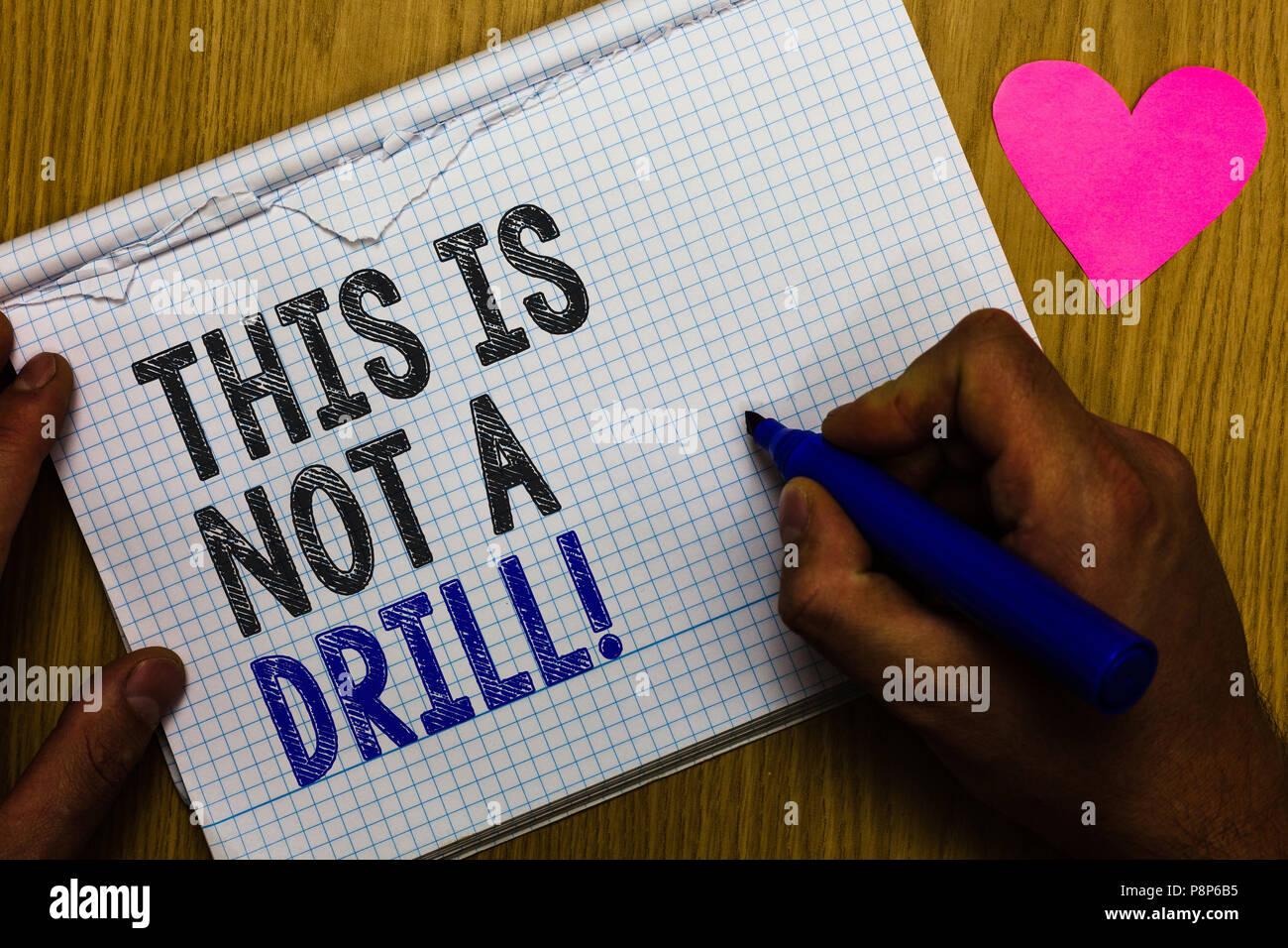 Handschrift text Dies ist keine Übung. Konzept Bedeutung Praxis ...