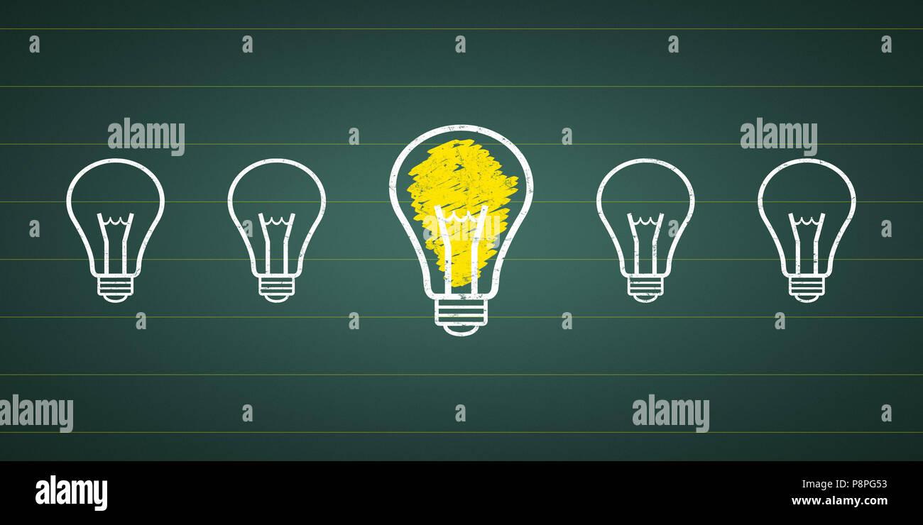 Grafik Idee-Glühlampen an einem schwarzen Brett Stockbild