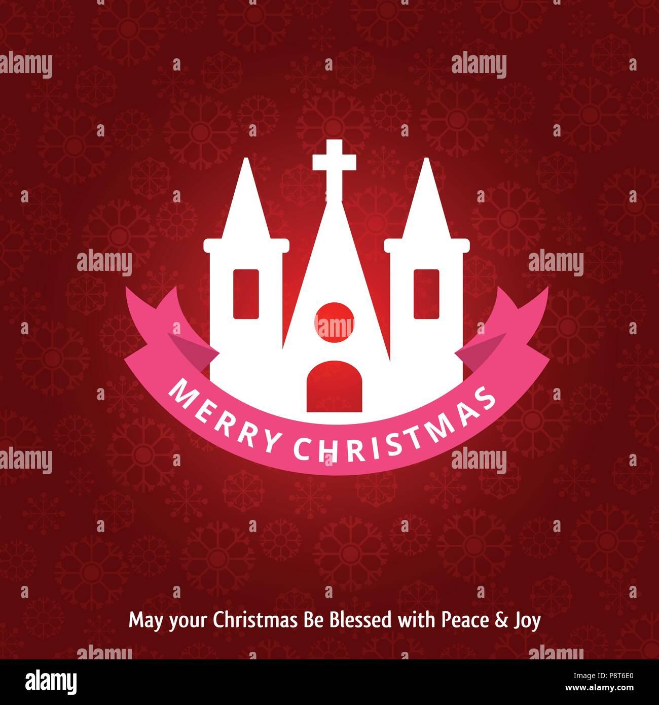 Weihnachtsgrüße Muster.Weihnachtsgrüße Karte Mit Der Heiligen Kirche Und Muster Hintergrund