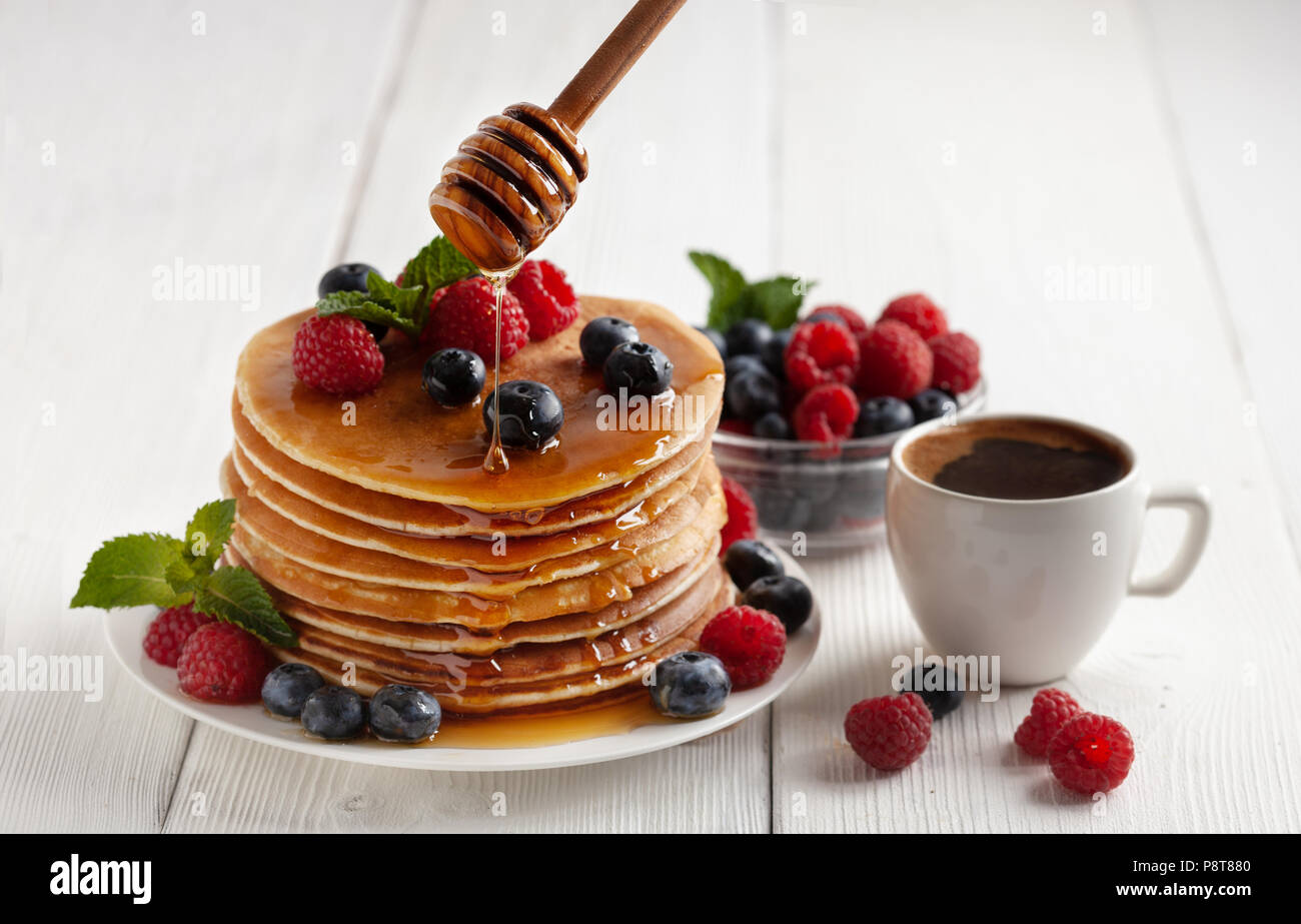 American Blueberry Pancakes Stockbild