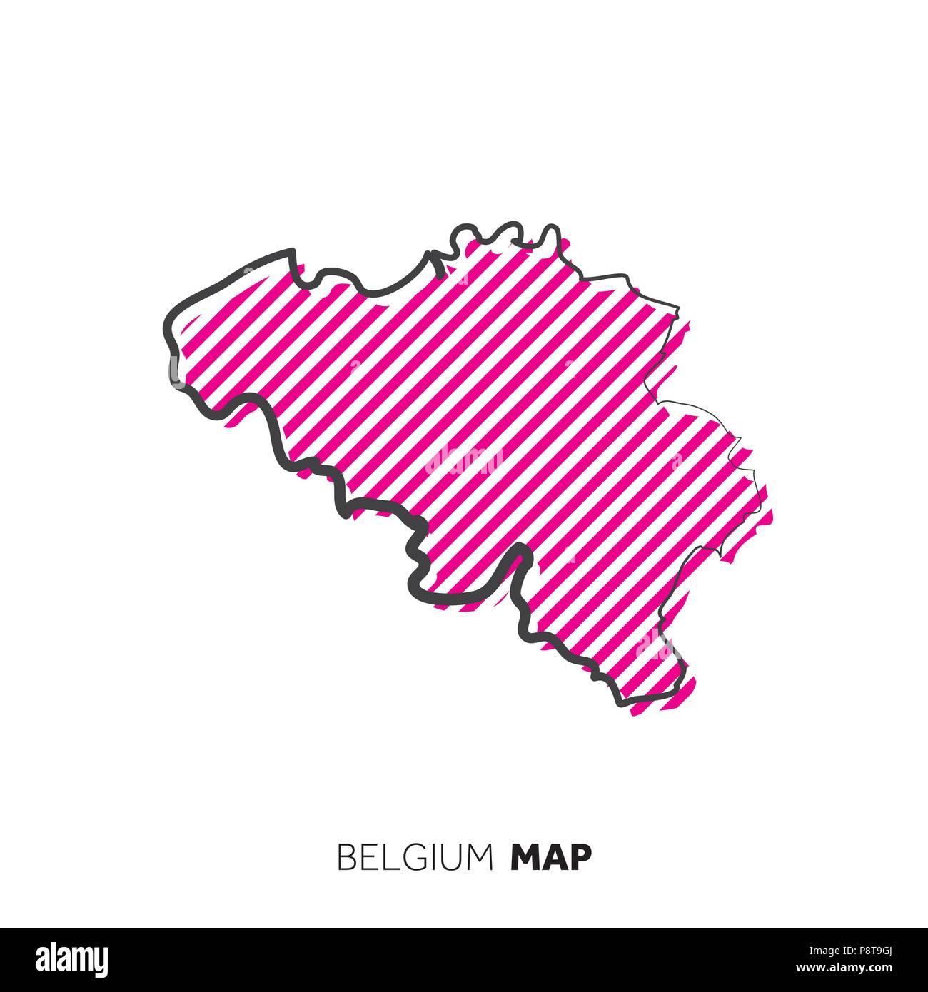 Belgien Karte Umriss.Belgien Vektor Land Karte Karte Umriss Mit Punkten Vektor Abbildung