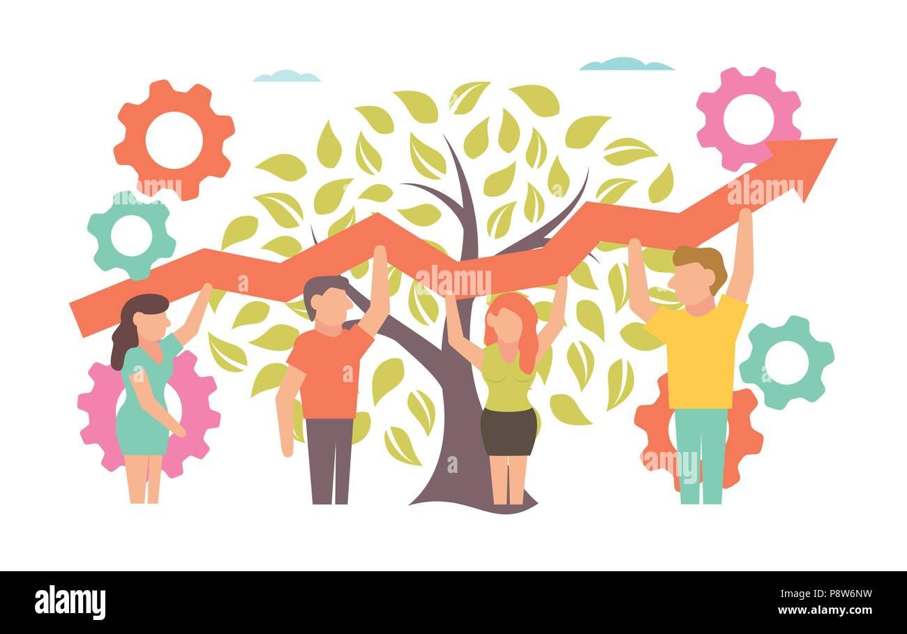 Teamwork Vector Illustration für Business Design und Infografik Stockbild