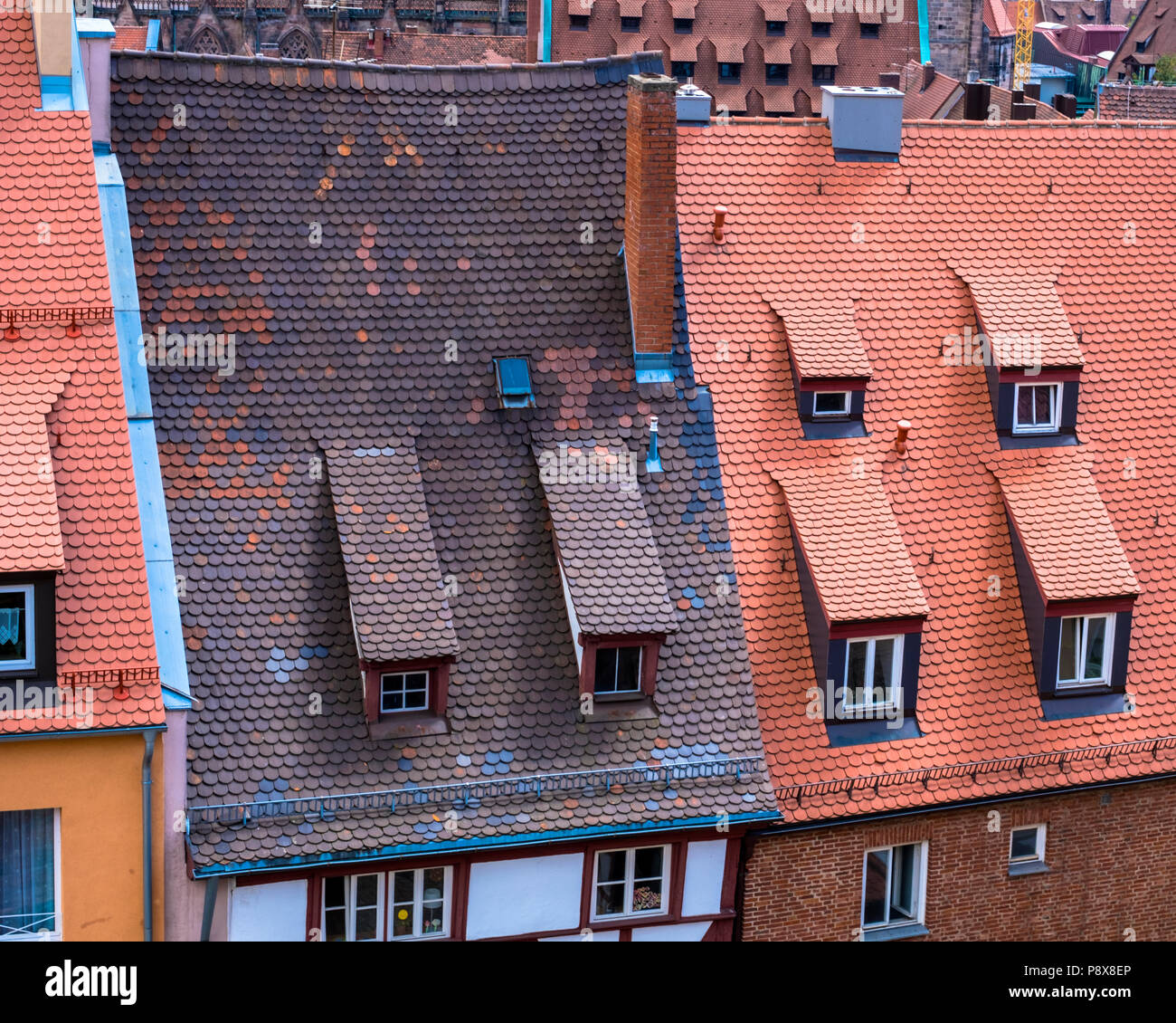 Historische Dächer in der Nürnberger Altstadt, Deutschland Stockbild