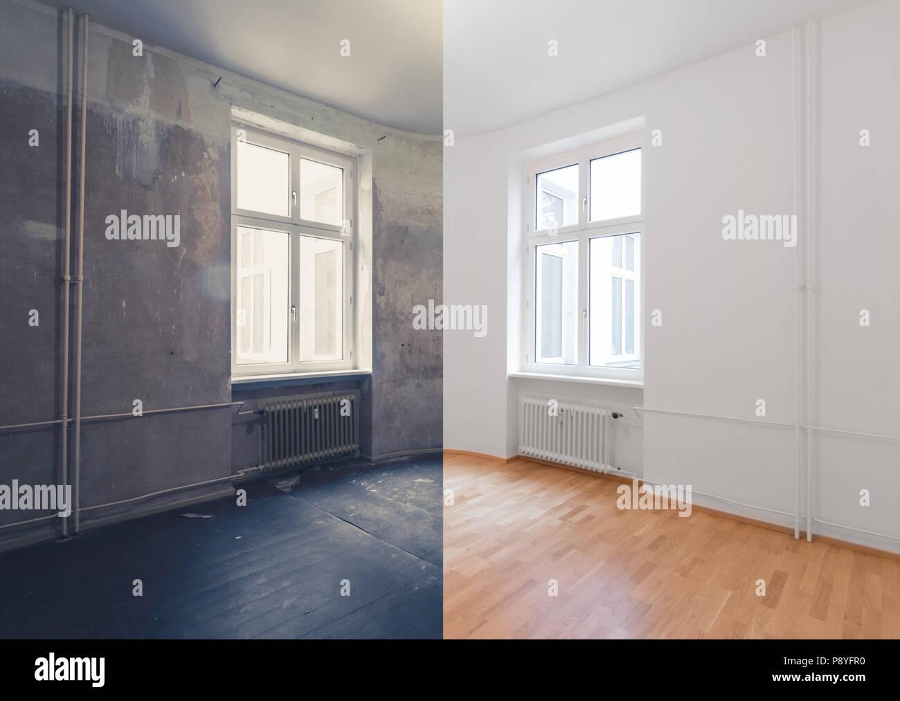 vor und nach der renovierung - renovieren leere wohnung zimmer