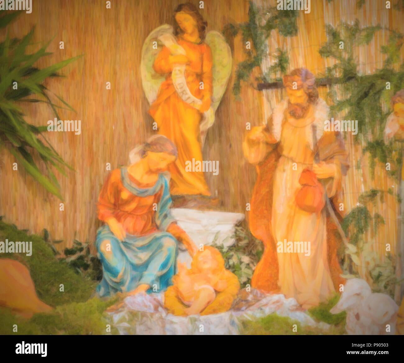 Hirten Bilder Weihnachten.Abbildung Weihnachten Geburt Der Heiligen Baby Jesus Mit Der