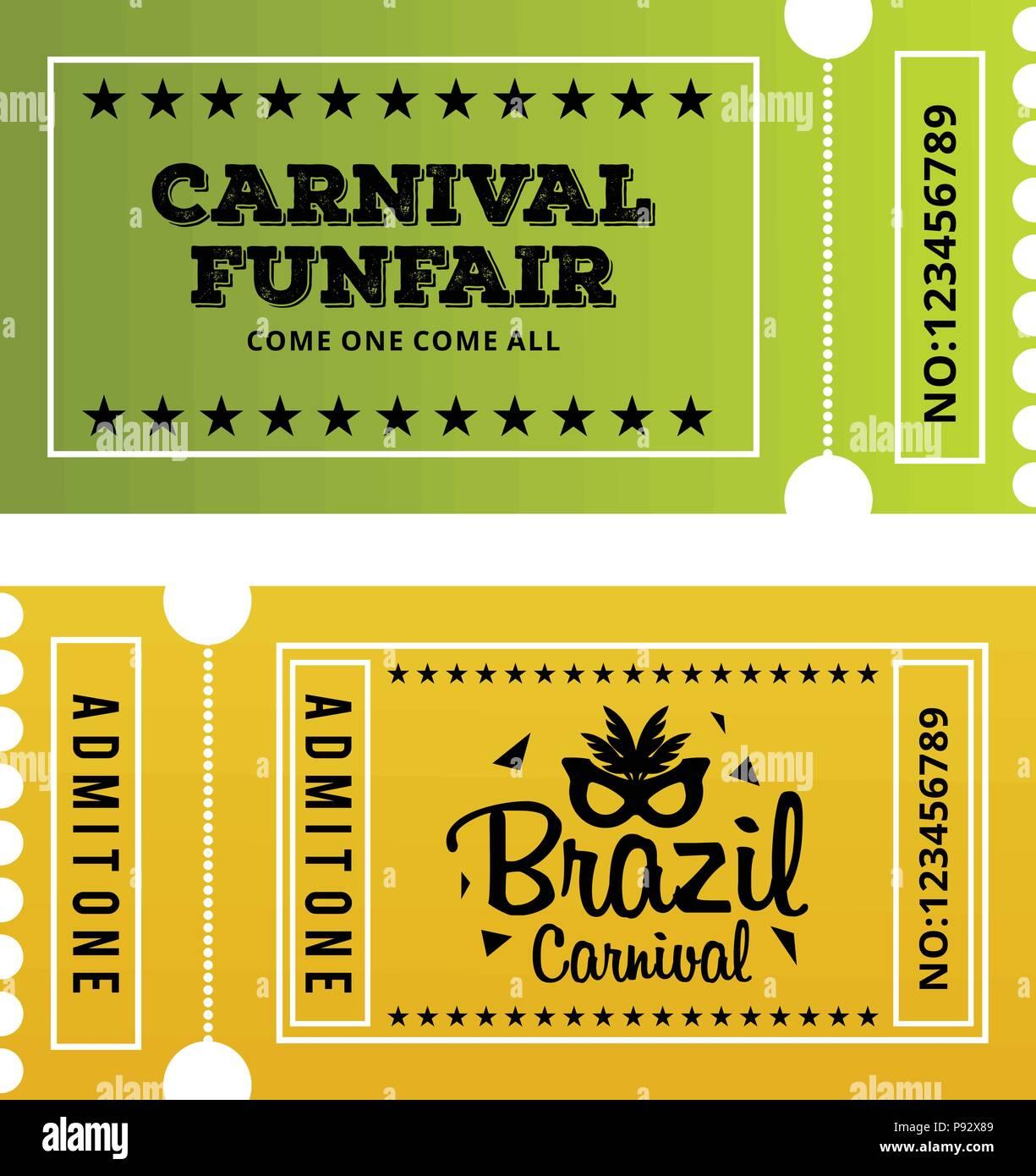 Grun Und Gelb Karneval Zirkus Tickets Fur Web Design