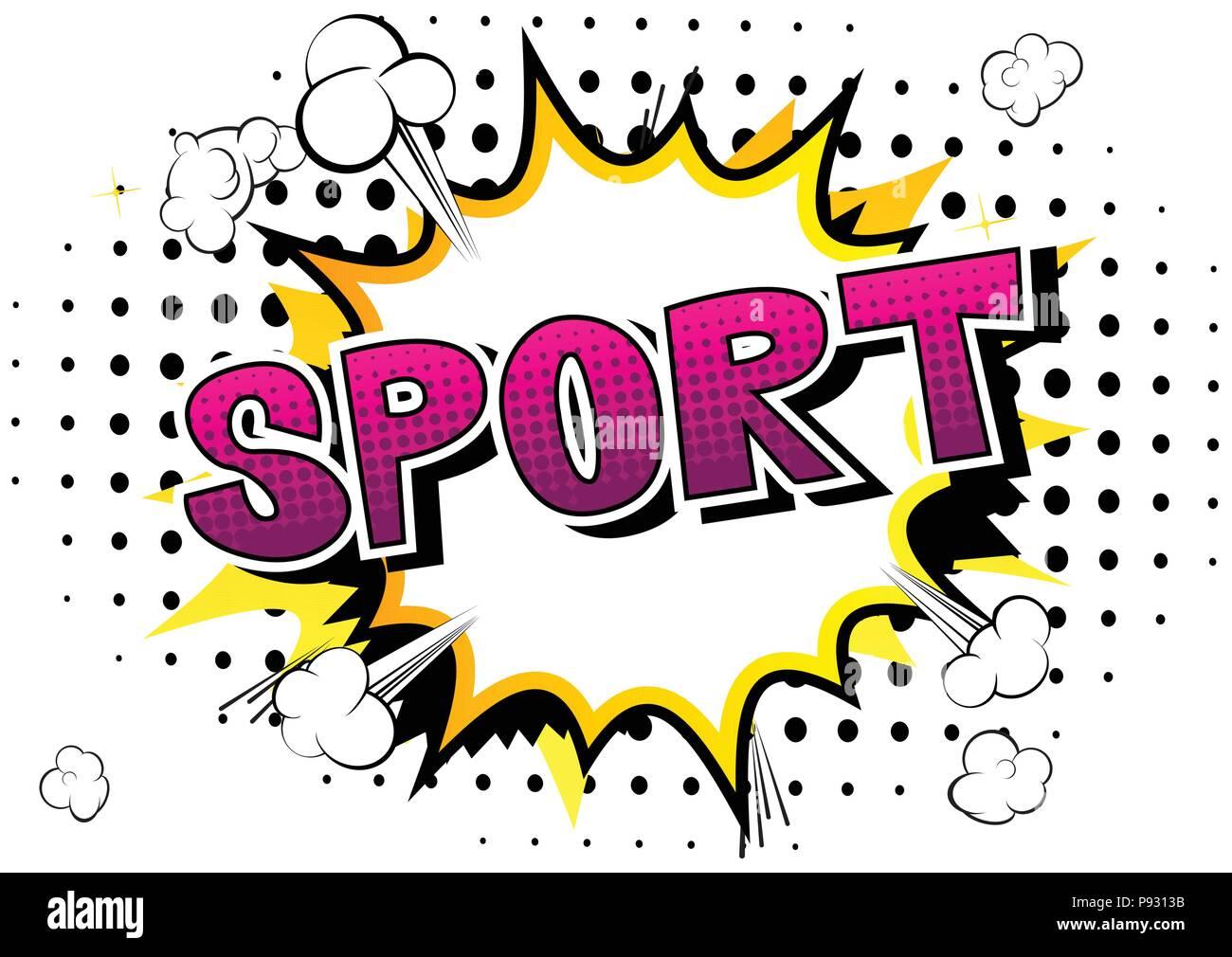 Sport Comic Buch Stil Wort Auf Abstrakten Hintergrund Stock Vektorgrafik Alamy