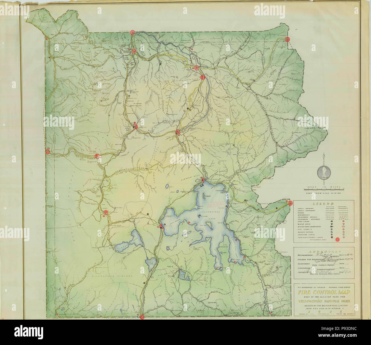 1932 Brand Control Map Yellowstone National Park Stockfoto, Bild ...