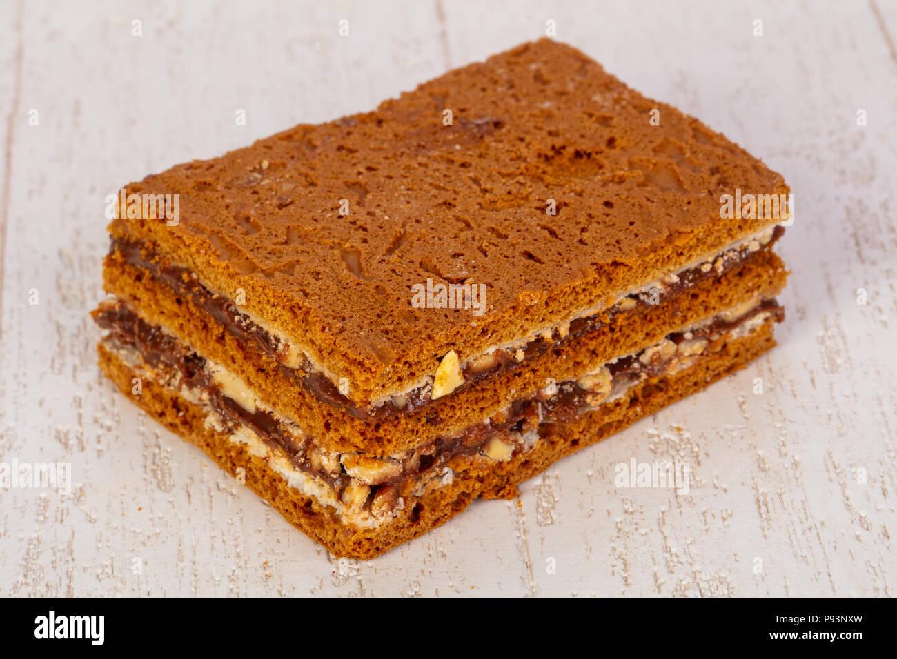 Lecker Honig Kuchen Russische Medovik Stockfoto Bild 212139393