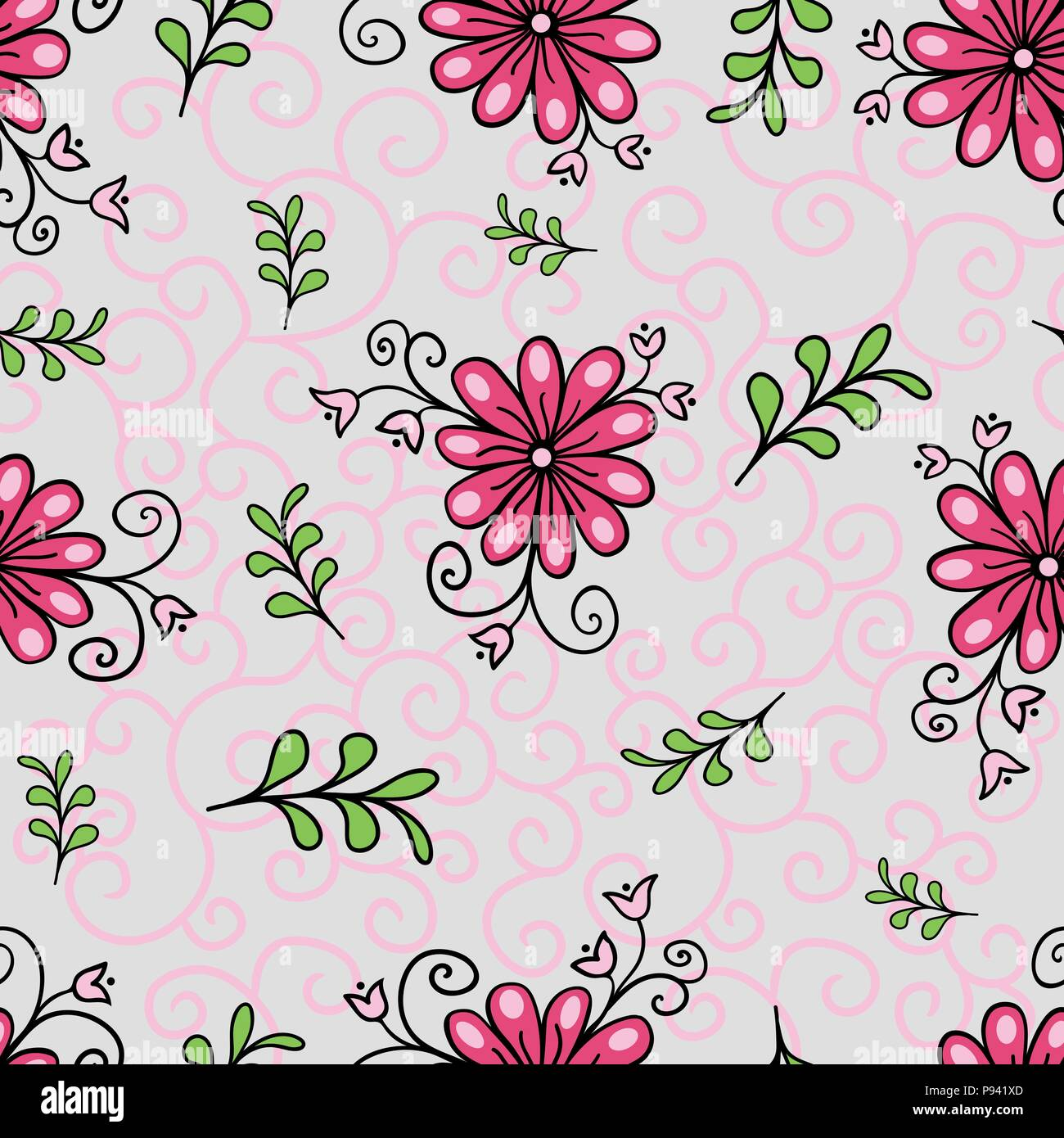 Nahtlose Floralen Muster Moderne Abstrakte Farbenfrohe Stil Hand