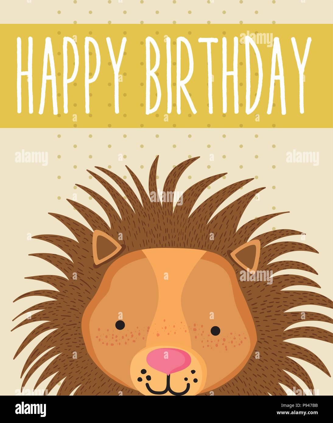 Lion Happy Birthday Card cute cartoon Vector Illustration graphic