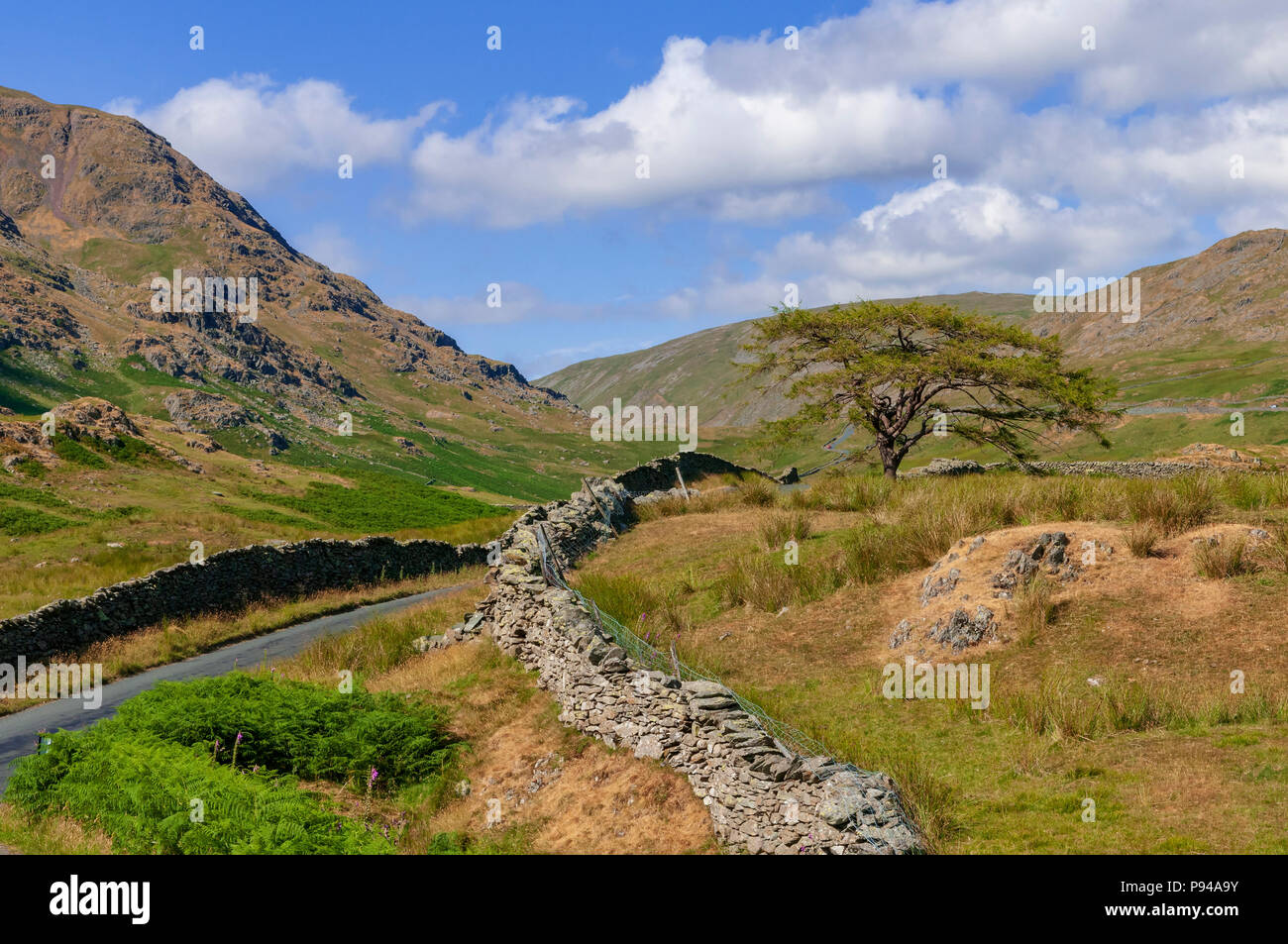 Lake District. Der Kampf Straße Nea rder Kirkstone Pass. Stockbild