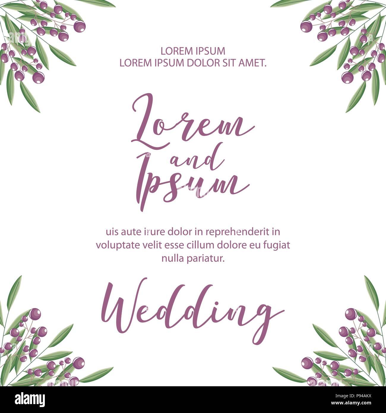 Hochzeit Einladungskarte Vorlage Mit Blumen Gemusterte Vector