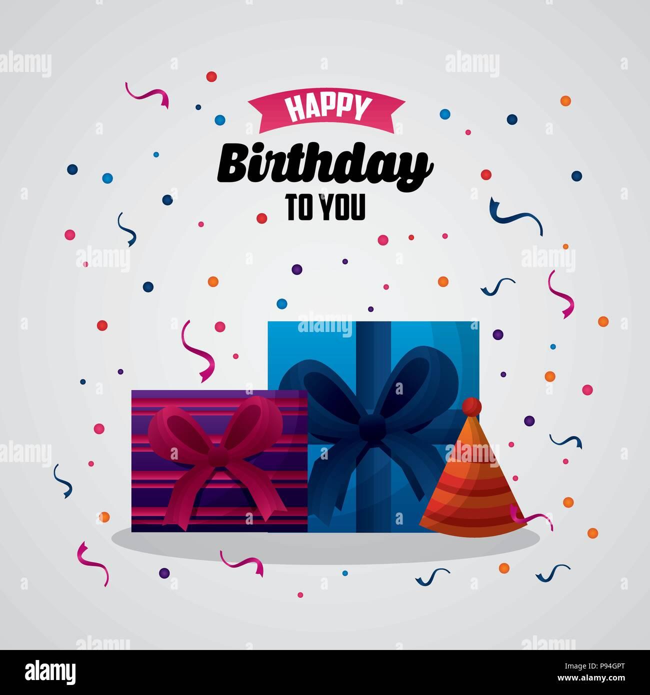 Happy Birthday Card Konfetti Party Gitf Boxen Hat Feier Vector Illustration