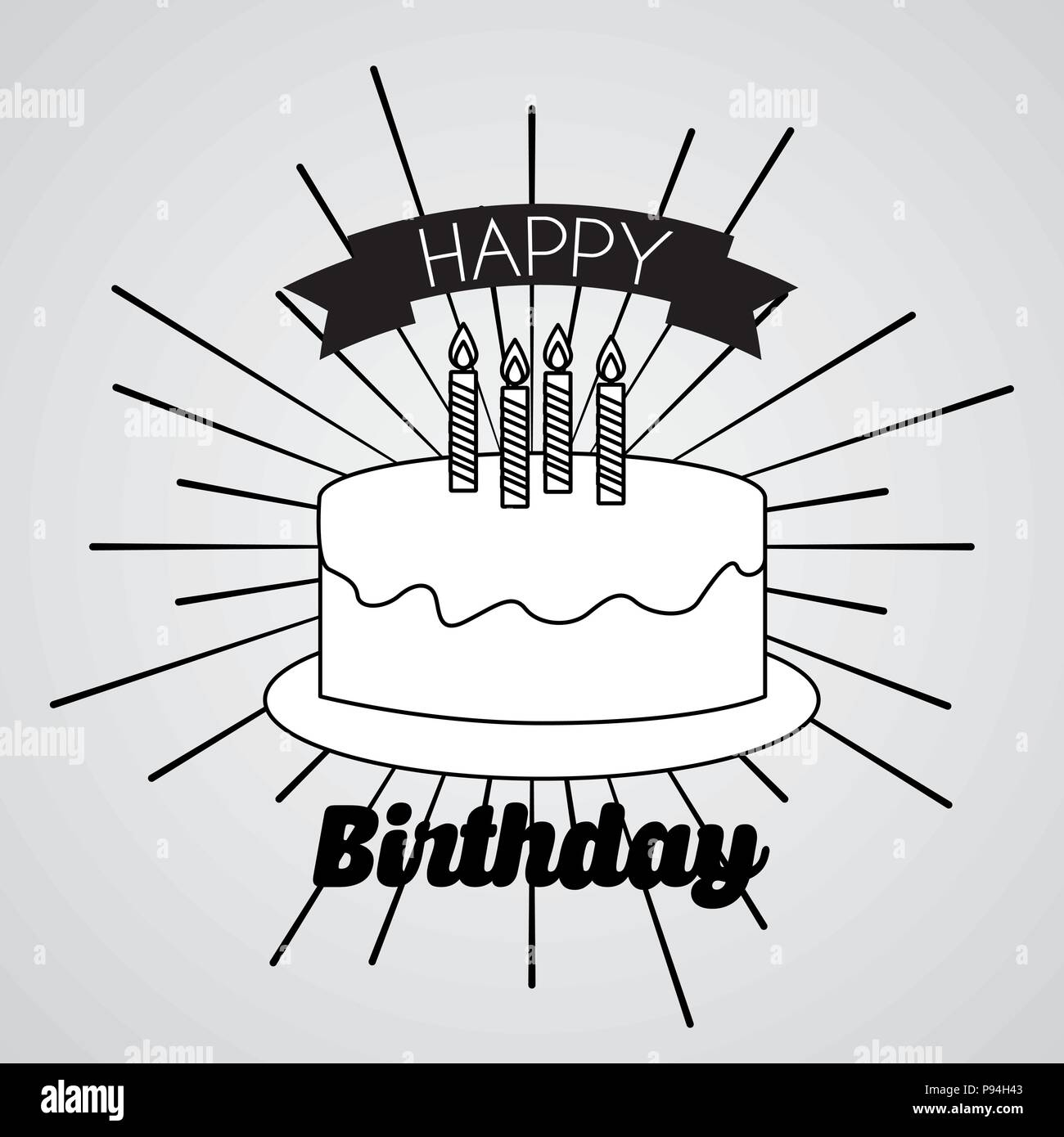 Happy Birthday Card Draw Kuchen Candless Ribbon Vector Illustration