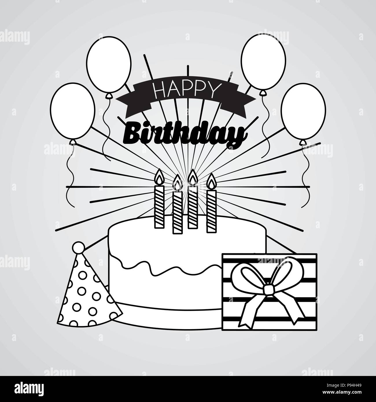 Happy Birthday Card Draw Geburt Ribbon Luftballons Geschenk Box Vector Illustration
