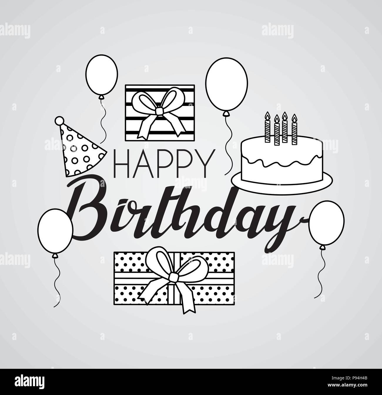 Happy Birthday Card Draw Kuchen Hute Ballons Zeichen Vector Illustration