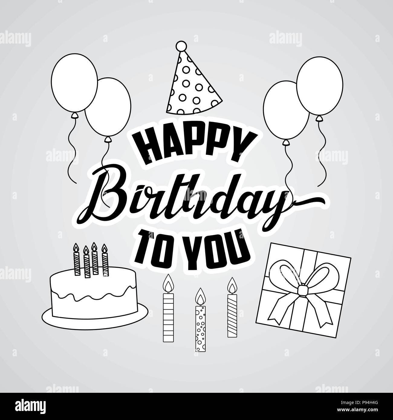 Happy Birthday Card Draw Zeichen Kuchen Candless Ballons Hat Party Geschenk Box Vector Illustration