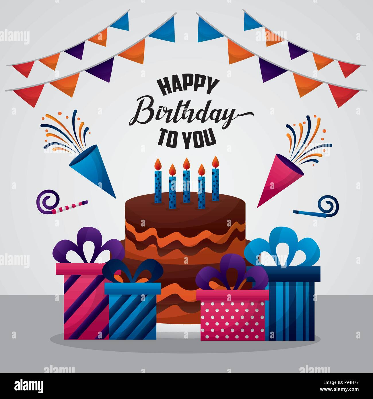Happy Birthday Card Colorspennants Konfetti Hute Kuchen Geschenkboxen Vector Illustration