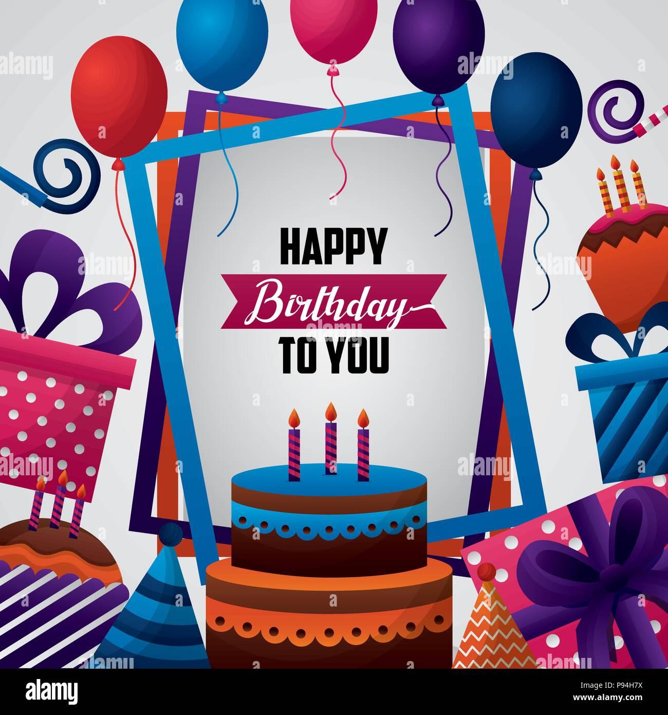 Happy Birthday Card Farben Frames Dekoration Anmelden Kuchen Candless Hute Geschenke Boxen Konfetti Vector Illustration