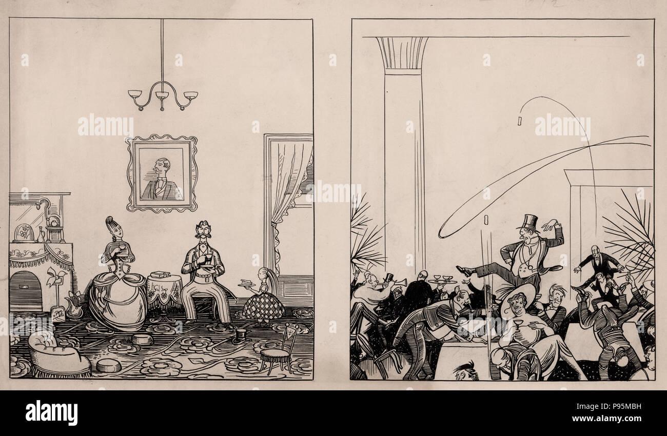 2-panel Cartoon. Die 1867 Bedienfeld zeigt eine ordnungsgemäße ...