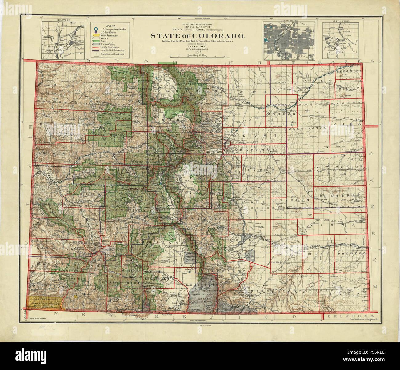 Colorado Karte Fluss.Karte Von Colorado Zustand Stockfotos Karte Von Colorado