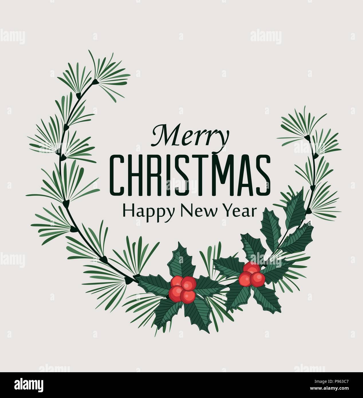 Vector Illustration von Weihnachten Rahmen mit Pinien, Zweige und ...