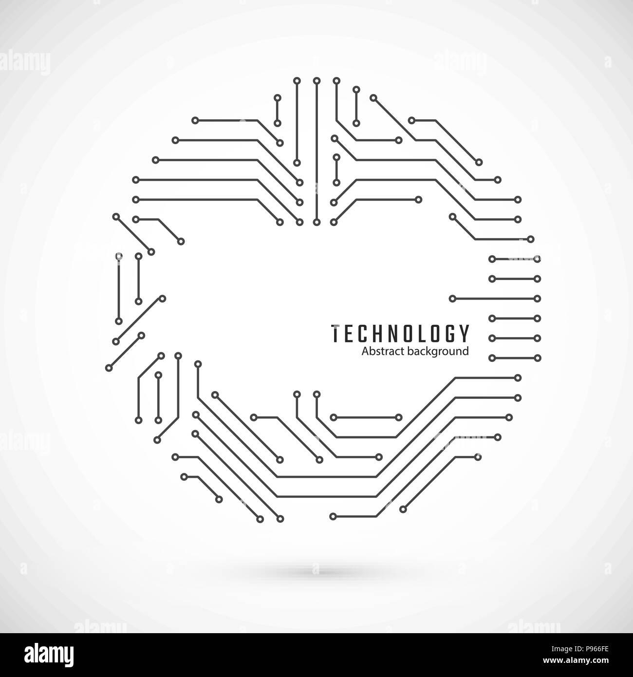 Abstrakte Technologie Hintergrund. Drucken des Stromkreises. Platine Textur. Vector Illustration Stockbild