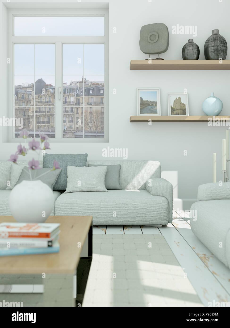 Moderne Gebaeude interior design Wohnzimmer in Weiß Stil ...