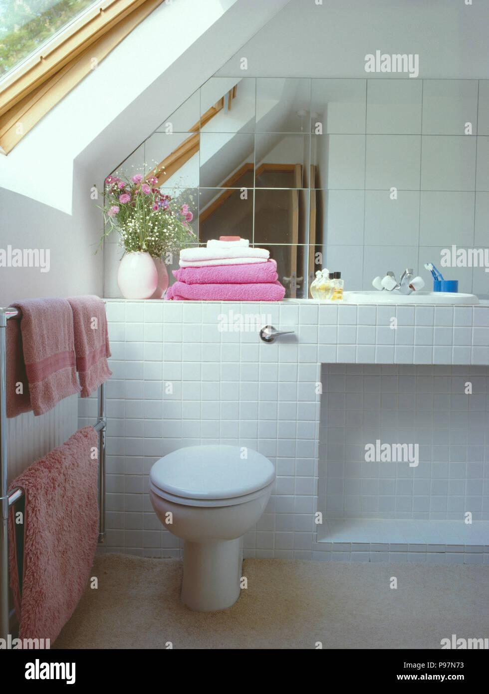 Spiegel Fliesen An Wand Uber Toilette Im Weissen Dachgeschoss