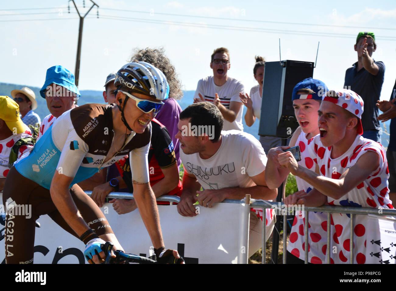 Tour de France 2018. Stufe 6. Brest, Mur-de-Bretagne. In den letzten Kilometer der 181 km Strecke, die eine durchschnittliche Steigung von 6,9 %. Stockfoto