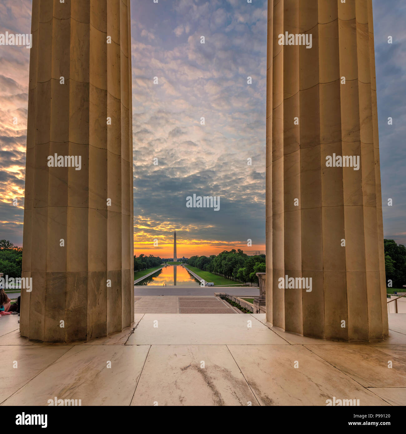 Sonnenaufgang am Lincoln Memorial in Washington DC Stockbild