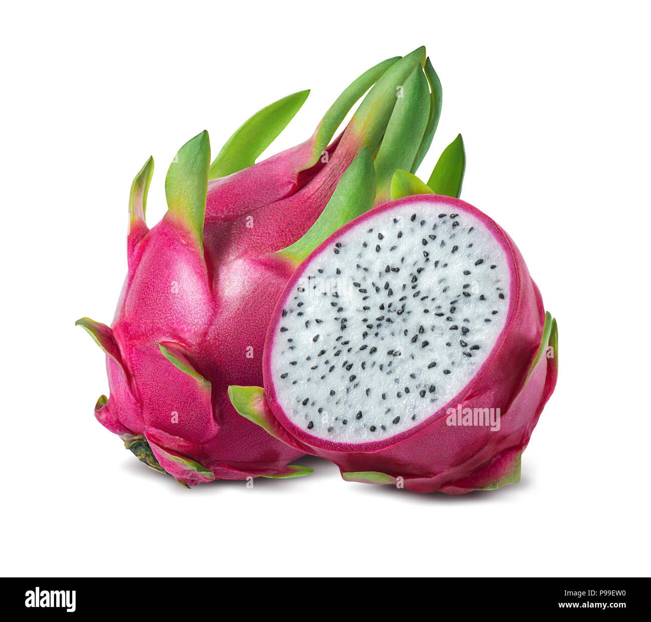 Dragon Obst oder pitaya auf weißem Hintergrund als Package Design Element isoliert Stockbild