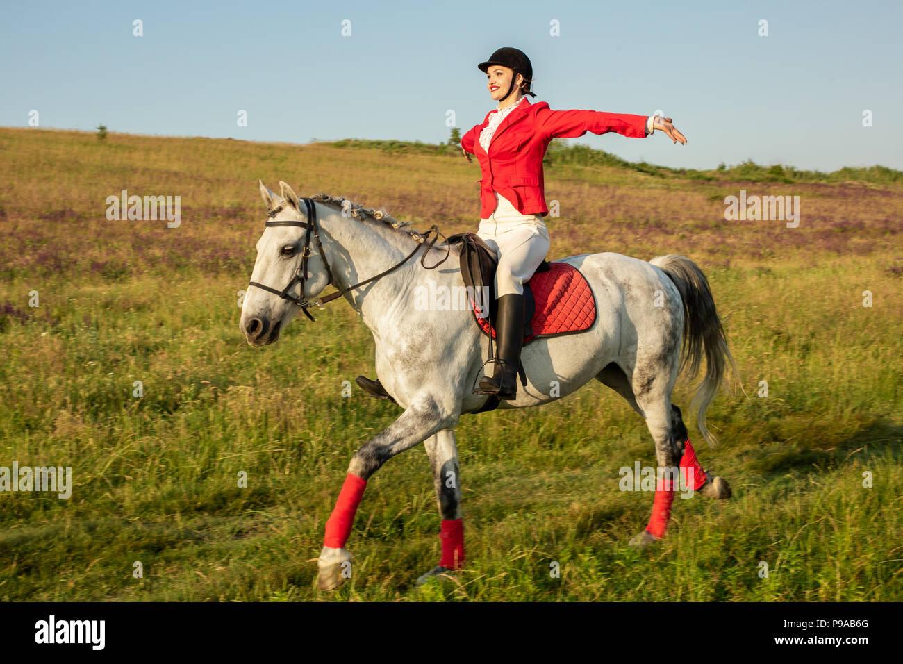 die reiterin auf einem roten pferd reiten pferderennen