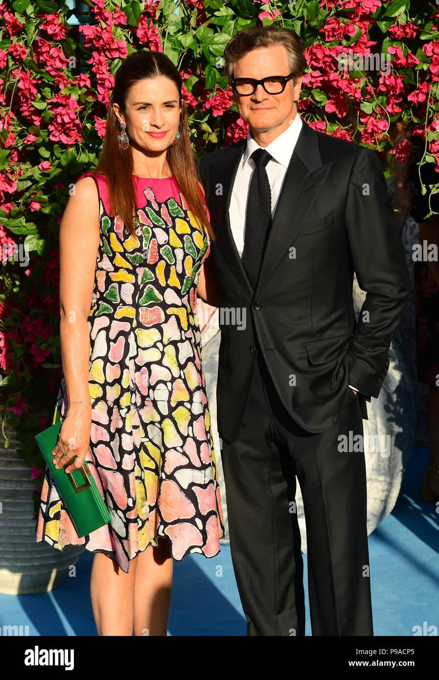 Livia Firth und Colin Firth die Teilnahme an der Premiere von Mamma Mia! Hier gehen wir wieder in den Eventim Hammersmith Apollo, London. Stockbild