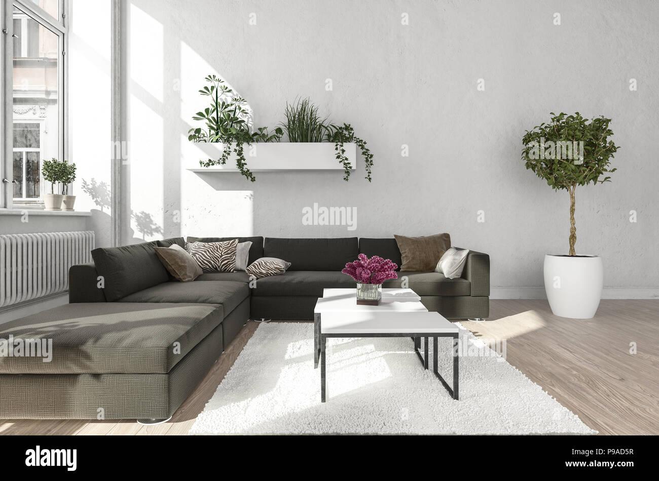 Wohnzimmer Mit Schwarzes Sofa Neben Metall Tabelle Steht Auf Weißer Teppich  Und Wand Pflanzmaschine In Der Nähe Der Fenster Und Kühler. 3D Rendering