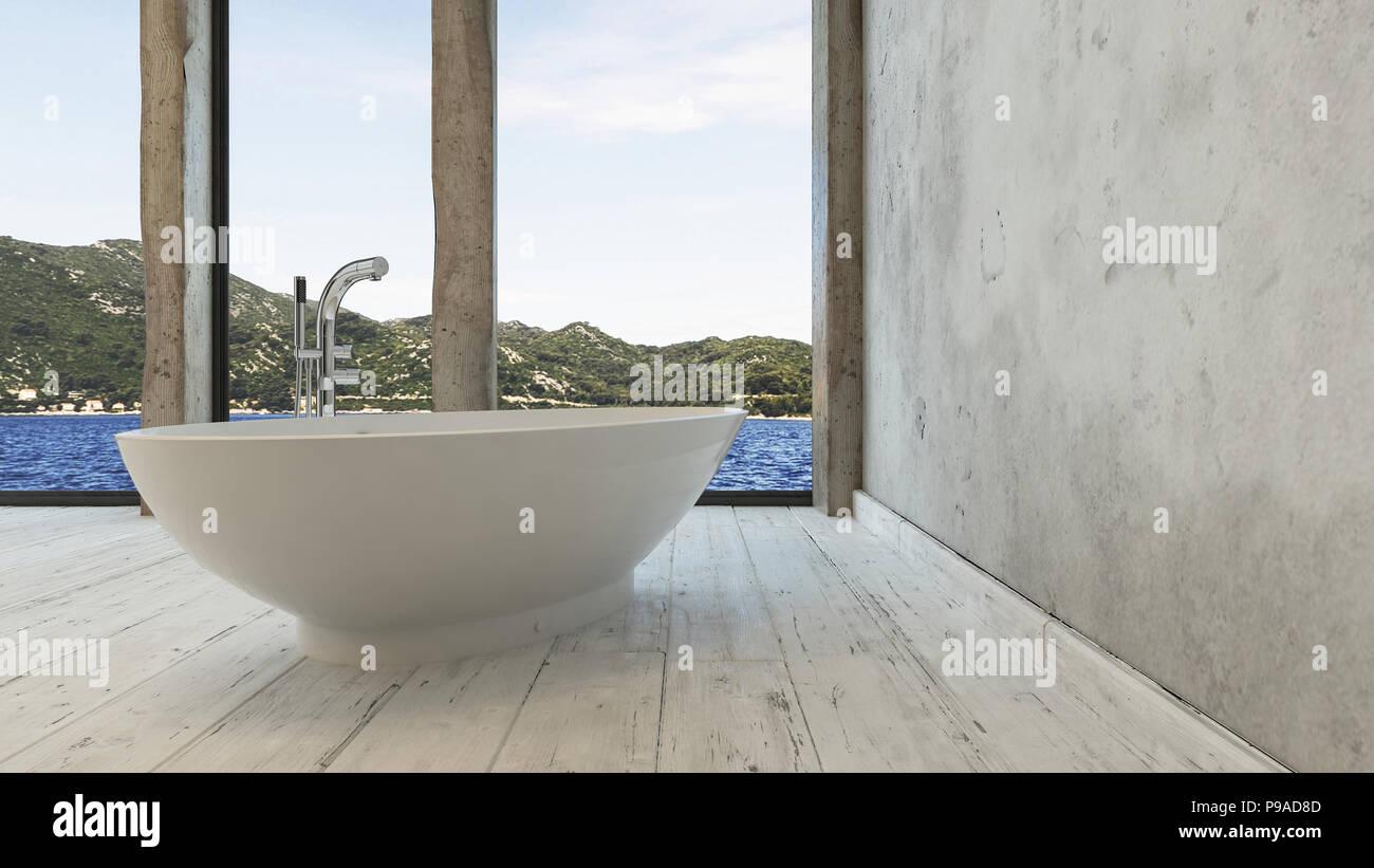 Holzfußboden Badezimmer ~ Einzelne moderne badewanne sitzen auf rustikalen holzfußboden im
