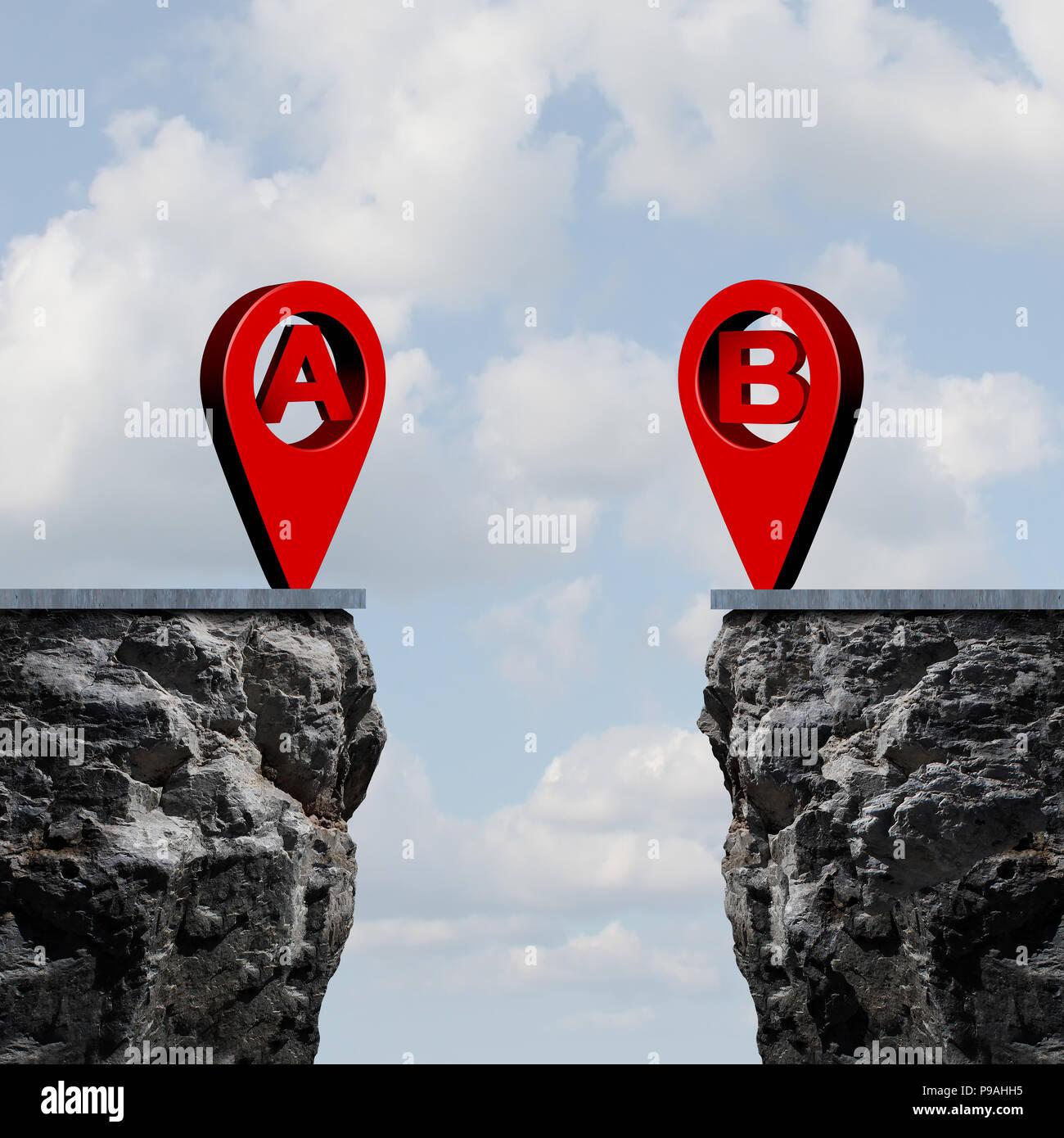 A bis b Position Roadmap und GPS-Navigator pin Verbindung Karte Ziel Herausforderung, da ein Geschäft Metapher Konzept mit gerenderten 3d-Elemente. Stockbild