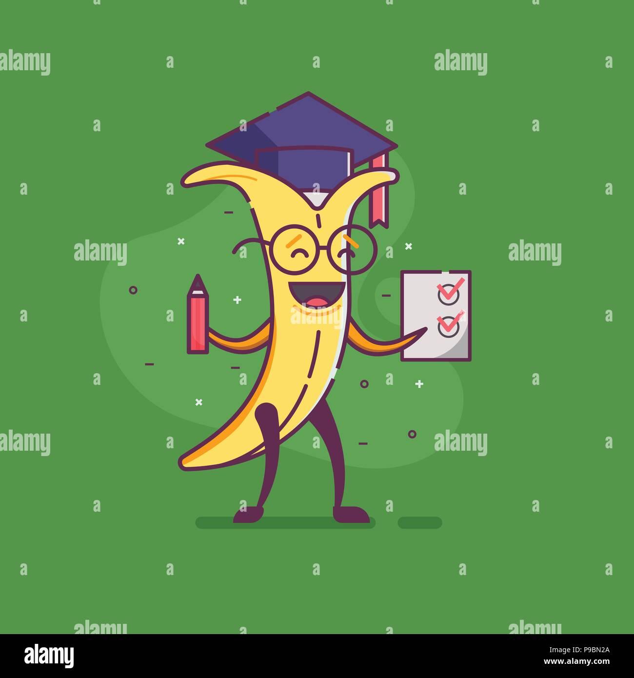 Lustige Cartoon Banana Absolvent Charakter Holding Papier Mit