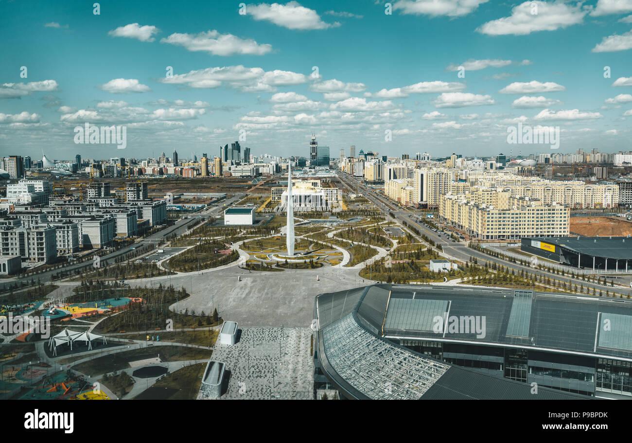 Panorama Ansicht von Astana in Kasachstan von der Expo Gebäude gesehen Stockbild