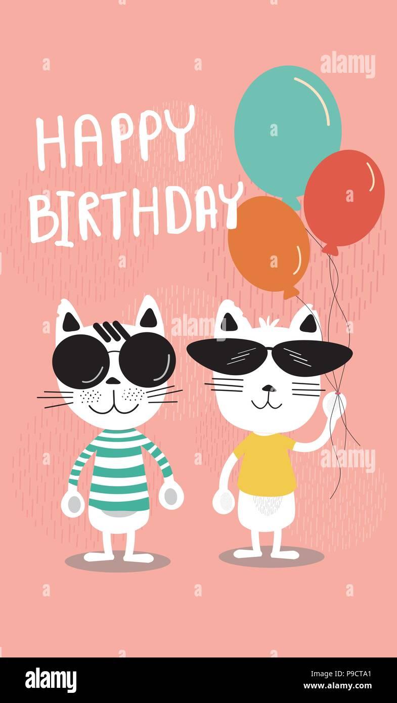 Cute Weichen Pastelltonen Cartoon Geburtstag Karte Lustig Katzen In