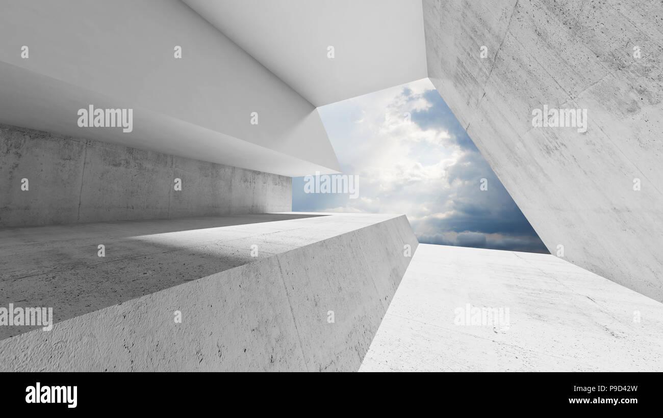 Leeres weißes interieur mit bewölktem himmel hinter dem fenster
