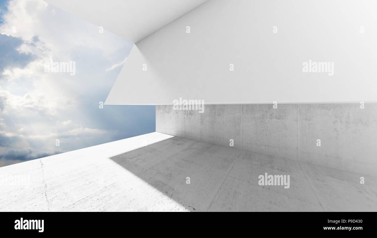Leeres weißes interieur mit wolken hinter dem fenster eine