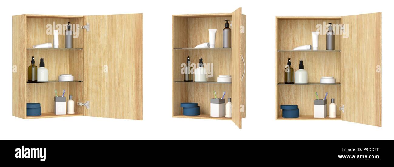 Verschiedene Ansichten des offenen Holz- Badezimmer Schrank mit ...