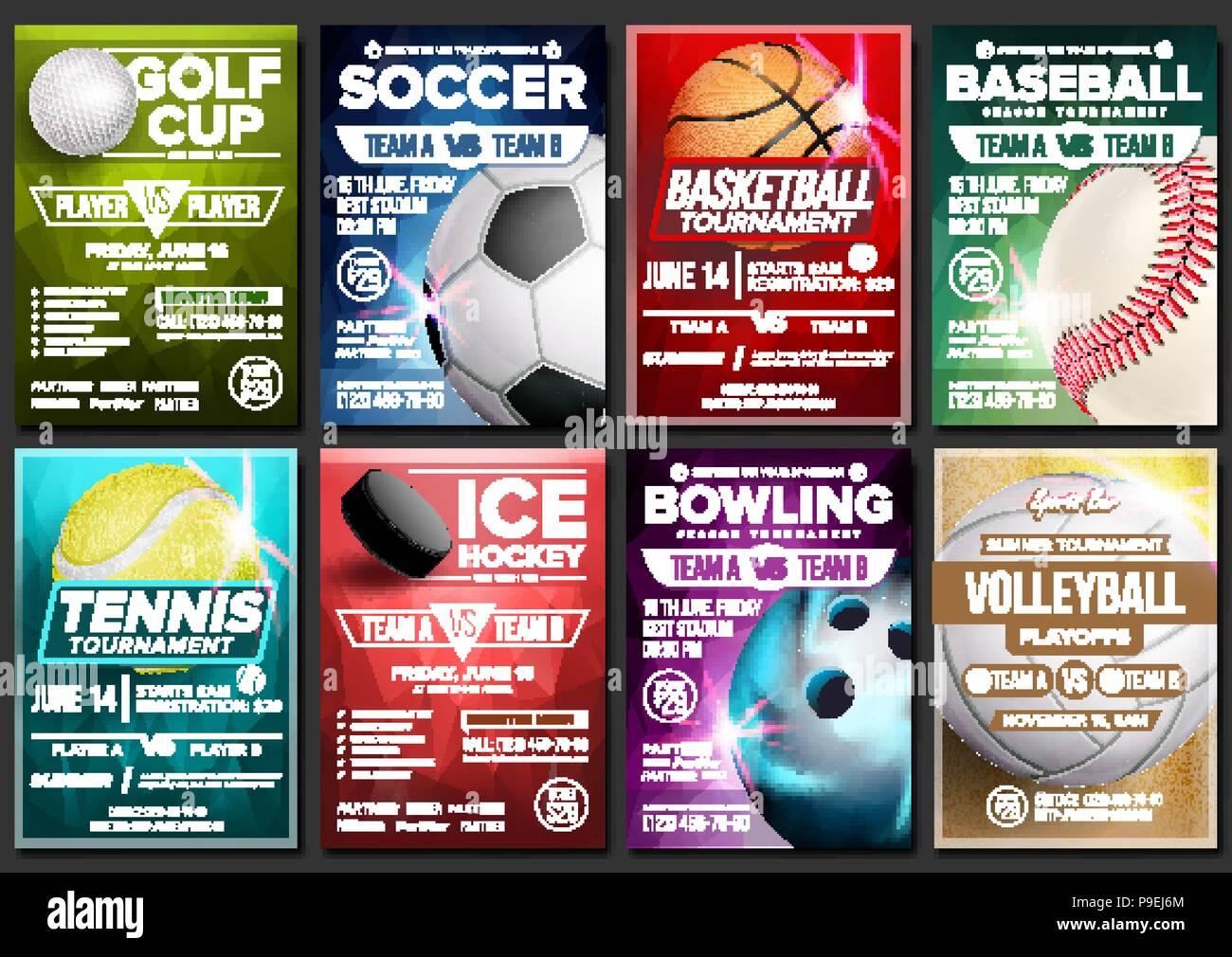 Sport Poster Set Vektor Tennis Basketball Fussball Golf