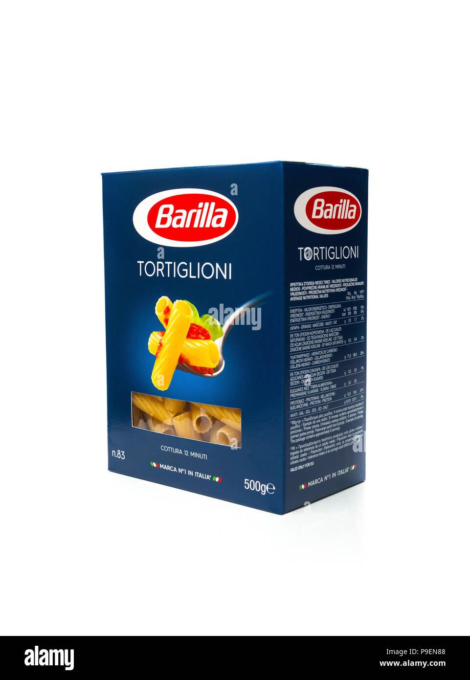 Barilla Tortiglioni Pasta in einer Box Stockbild