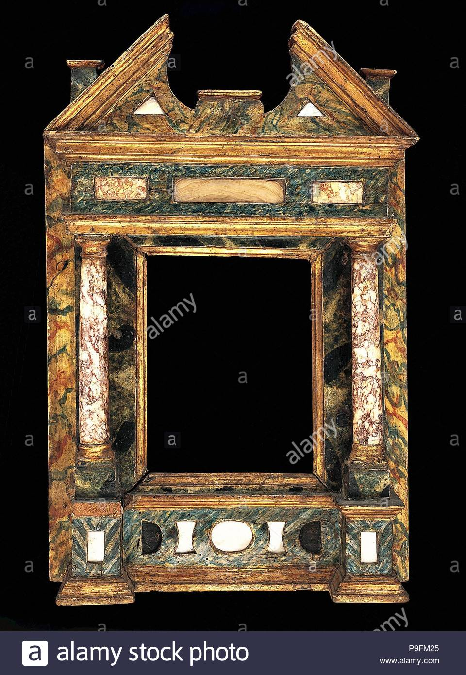Wohnung Rahmen, Anfang des 17. Jahrhunderts, Italienisch, Venedig, Pappel, Perlmutt, Marmor, 46,4 x 29,8, 17,6 x 13,5, 19 x 14,8 cm, Rahmen. Stockbild