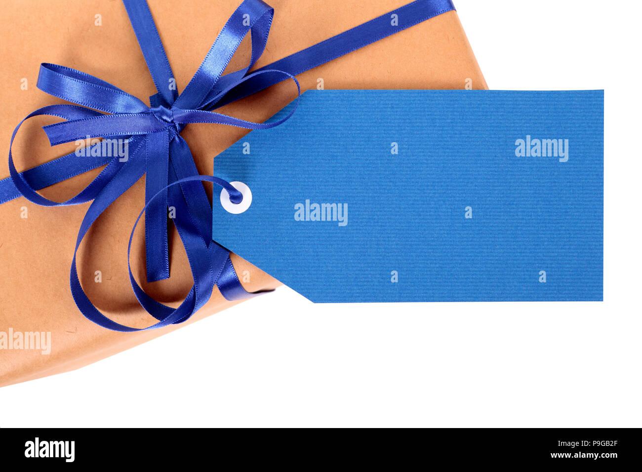 Einfachen braunen Papier Paket oder Paket, blau Geschenk Tag oder ...