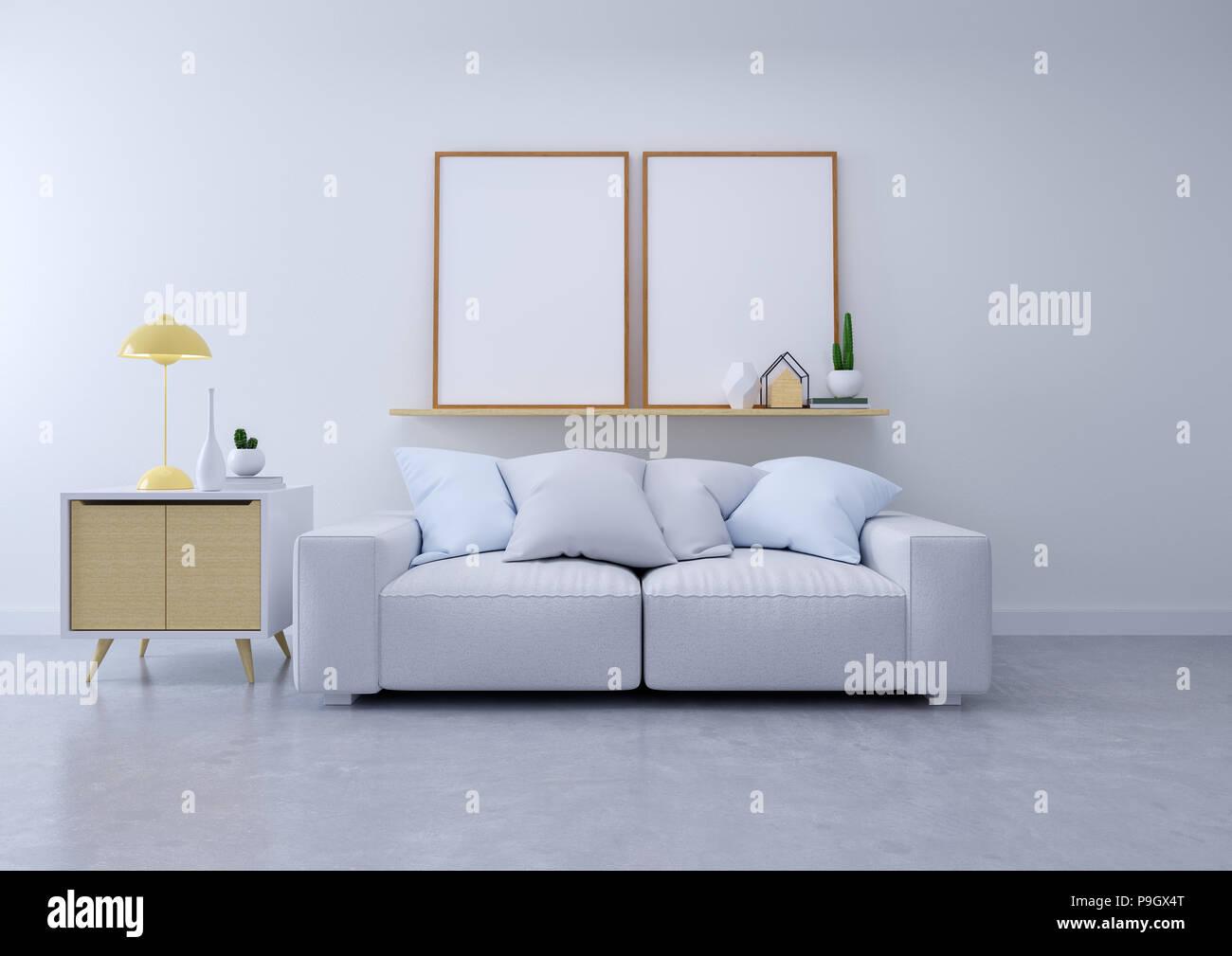 Modernes Design Interieur von Wohnzimmer, grau Sofa auf Betonböden ...