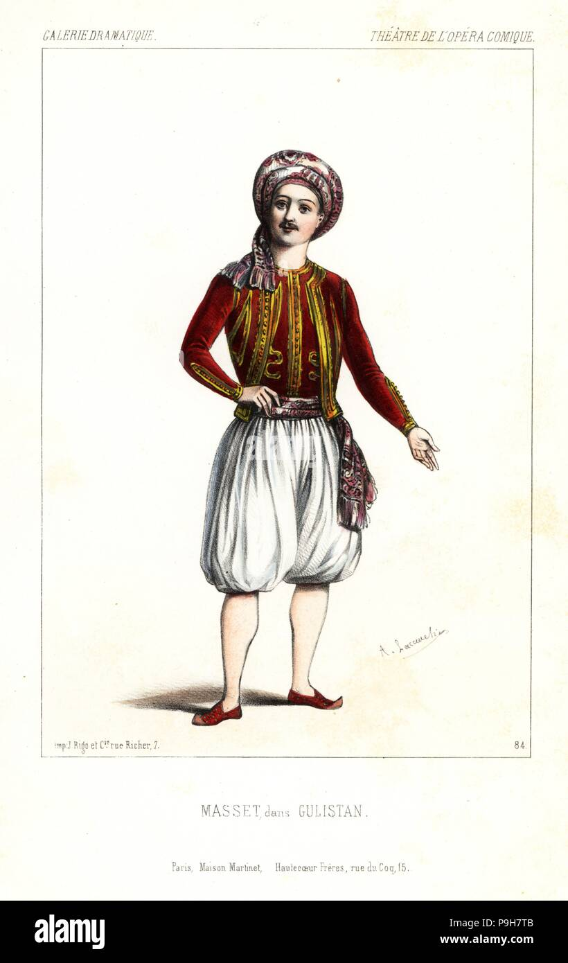 Tenor Sänger Nicolas Jean-Jacques Masset in der Oper als Gulistan Gulistan ou Le hulla de Samarcande von Nicolas Dalayrac, Théâtre de l'Opéra Comique, 1844. Stockbild